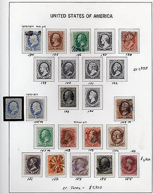 Old Classic Stamp Collection on Album Page (1870 - 71 Issues)  17 Stamps