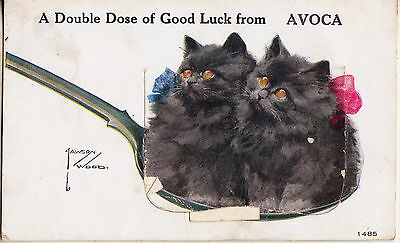 A Double Dose Of Good Luck From Avoca 1928 Used Valentine's Series Postcard 1485