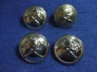 Job Lot Of British Fire Brigade Chrome Plated 25Mm Buttons
