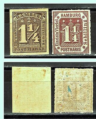 "HAMBURG: 1864 & 1866 Mi:DE-HH-8 & 24 ""Reprints"""