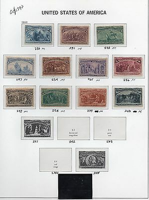 Old Classic Stamp Collection on Album Page (1893 Issues)  11 Stamps
