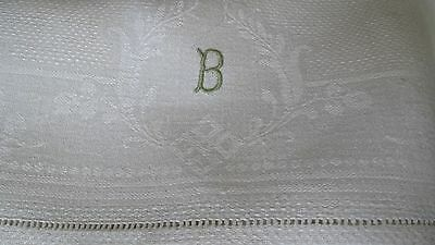 "set of 4 antique fine linen damask towels 33x19.5"" w monogram B, laddered edges"