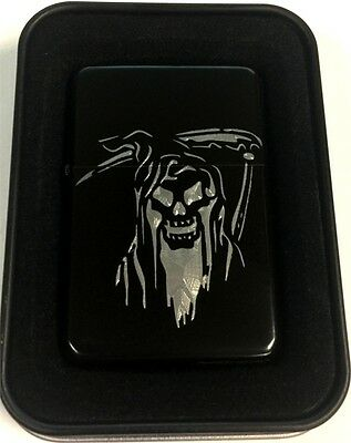 Grim Reaper Skull Sickle Black Engraved Cigarette Lighter LEN-0191