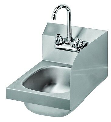 "Krowne Metal HS-9-RS 12""W Wall Mount Space Saver Hand Sink w/ Right Splash Guard"
