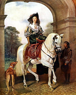 8x10 Victorian Art Print Queen Victoria Side Saddle Horse Russian Wolfhound Dog