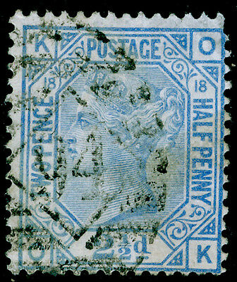Sg142, 2½d blue plate 18, used. Cat £65. OK