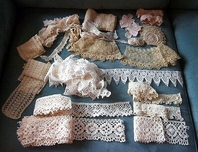 HUGE Lot Antique Lace Medallions Crochet Collars SO MUCH MORE! L@@K!!!