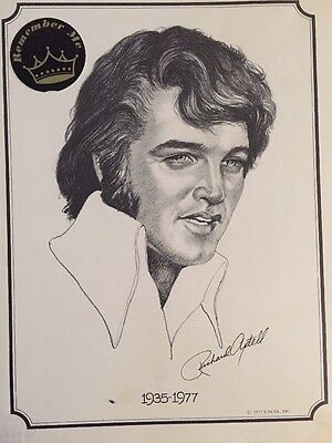 Vintage Elvis Presley Print Remember Me By Richard Axtell 1977 In Shrink wrap