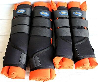Horse Stable Boots Wraps Front Rear 4 Pack Orange Leg Hoof Care Premium 4120OR