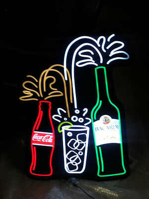 Bacardi & Coke Cola Lighted Sign with Motion RARE Brand New in Box