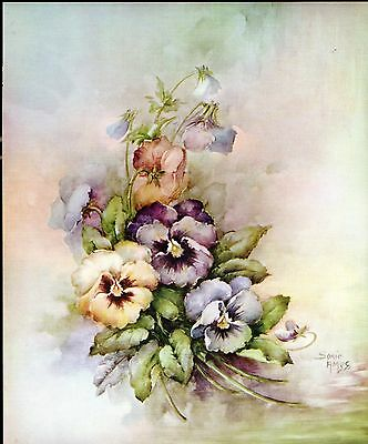 #15 Pansies China Painting Study by Sonie Ames 1967