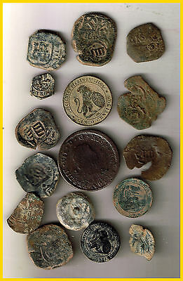 LOT(A)  16 SPANISH  ANCIENT COINS OF DIFERENT TIMES-MEDIEVAL-ROMA-COLONIAL-etc.