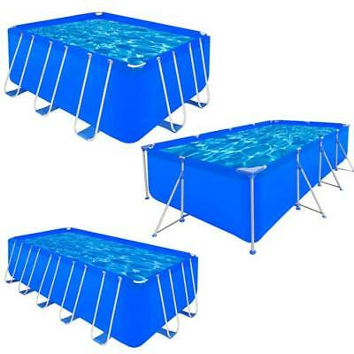 3 Sizes Above Ground Rectangular Swimming Pool Steel Frame Blue Outdoor Spa PVC