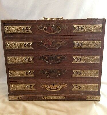 Ornate Asian Vintage Medicine 5 Drawer Apothecary Table Top Cabinet Brass Accent