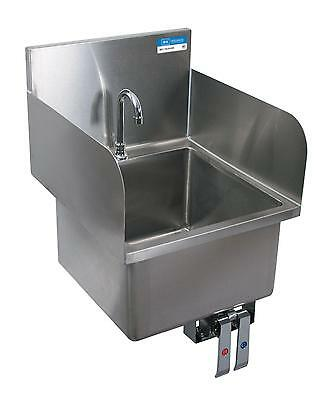 BK Resources Deck Mount Hand Sink w/ Knee Valve Bracket & Side Splashes