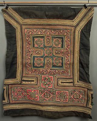 Old! Handmade Elaborate Embroidery Chinese MIAO Tribe BABY CARRIER PANEL Textile