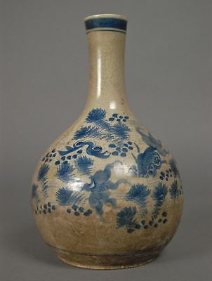 Old Blue Glaze Fish & Plants Crackle Vase Pottery Chinese or Southeast Asia