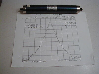 F15 82 MHz BandPass Filter, 1 MHz wide, READ, Tested w/plot