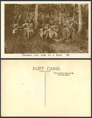 Native Men, Cannibals with Body for a Feast, Cannibalism Old Real Photo Postcard