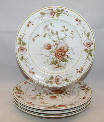 Noritake Versatone Hofgarten 4 Salad Plates Set Japan Pink Flowers Discontinued