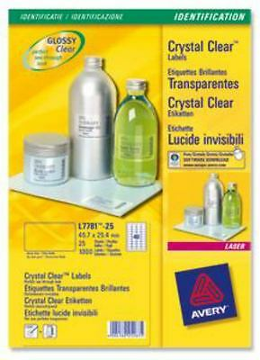 Avery  Crystal Labels 63.5x38mm Clear L7782-25 (525 Labels)