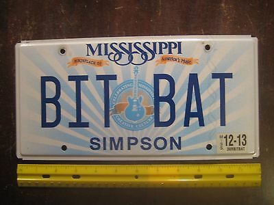 License Plate, Mississippi, Guitar, Personalized Vanity: BIT BAT