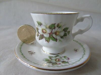 Queen's China Flower of the Month December Miniature Footed Teacup & Saucer