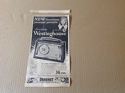 1958 Rare Original Add for The New Westinghouse Transistor Personal Portable
