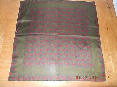 Vintage pure silk handkerchief olive green with red art deco design lovely cond