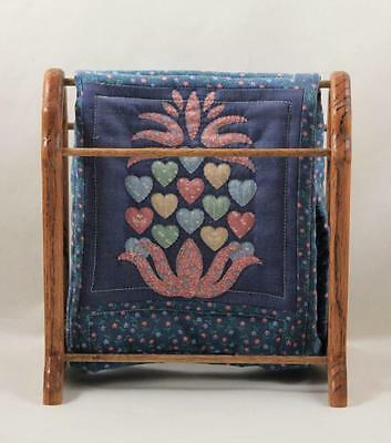 Doll Wooden Quilt Holder Hand Quilted Heart Floral Design Quilt Small