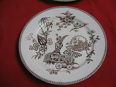 Aesthetic Movement Brown Transferware Plate T. Elsmore Staffordshire England