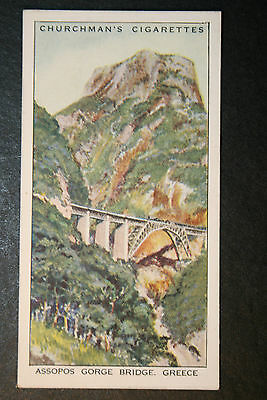 Greece  Assopos Gorge Bridge  Greek Longitudinal Railway   Vintage Card # VGC