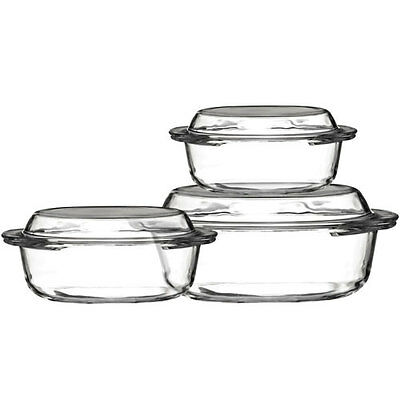 Set of 3 Tempered Kitchen Oven Proof Casserole Pots Dishes Bowls With Lids