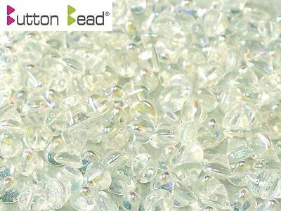 Pack of 50 Crystal Clear AB 4mm Button Czech Glass Beads