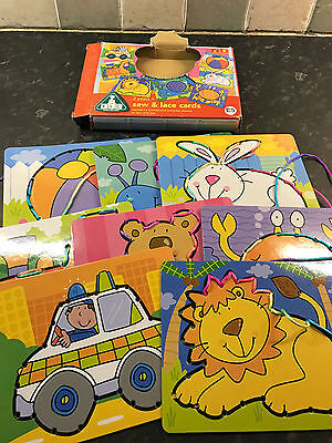 Early Learning Centre ELC SEW & LACE CARDS Animal & Everyday Themed 2 Years+