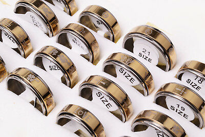 Wholesale 30pcs Stainless Steel Marking Mixed Pattern 2 Layers Spinner Band Ring