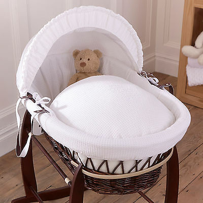 Clair De Lune White Waffle Padded Dark Wicker Baby Moses Basket & Mattress