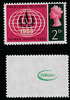 Falklands (709) 1968 Human Rights Missing Yellow 2d -  a Maryland FORGERY unused