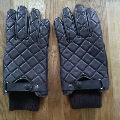 Mens Barbour Quilted Brown Leather Gloves size L