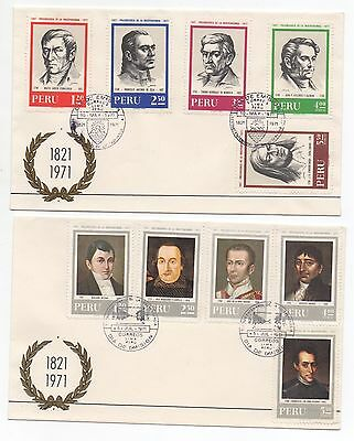 1971 PERU - 2 x First Day Covers 150th Anniversary of Independence