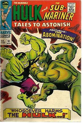 Tales To Astonish 91 Dated May 1967. Very Good Condition. Hulk, Sub-Mariner