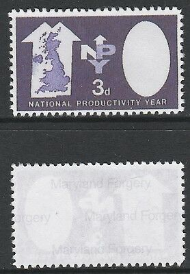 Great Britain (714) 1962 NPY 3 Queen's Head Missing -  a Maryland FORGERY unused