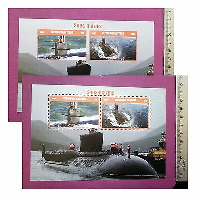 Submarines 2016 CHAD Stamp 2 Value perf/imperf Sheetlets MINT MNH UKpost