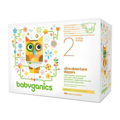 New Babyganics Ultra Absorbent Size 2 Disposable Diapers Value Pack - 108 Count
