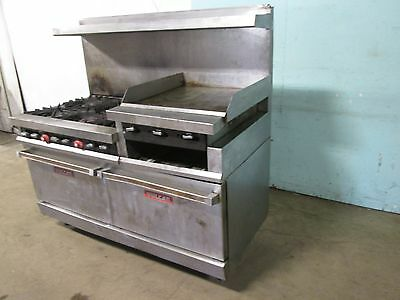 """""""VULCAN"""" HD COMMERCIAL NATURAL GAS 6 BURNERS STOVE w/24""""x 24"""" GRIDDLE + 2 OVENS"""