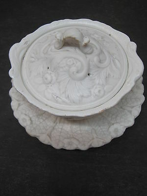 Antique Minton Parian Covered Bowl With Underplate 1850-60