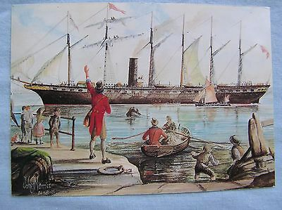 ARTIST POSTCARD - SS GREAT BRITAIN OFF AVONMOUTH c.1845 - MAIL CARRIER