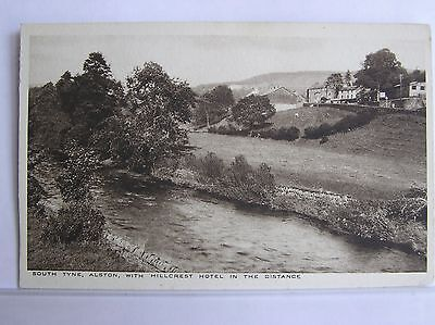 Postcard - Alston & River South Tyne + Hillcrest Hotel - Cumbria -
