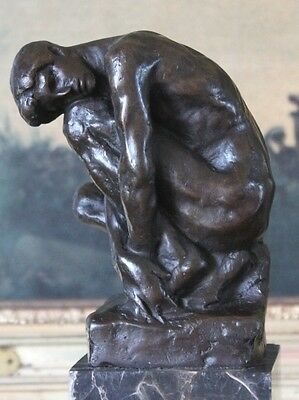 Classical Male Nude Bronze Marble Statue Rodin Sculpture Bookend Partner Gift
