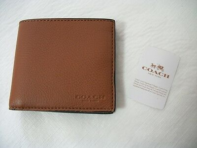 NEW COACH F75084 Men's Sport Calf Leather Double Billfold Wallet Saddle $150.00